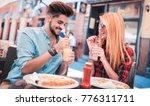 dating in pizzeria. handsome...   Shutterstock . vector #776311711