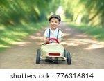 active little boy in pedal car... | Shutterstock . vector #776316814
