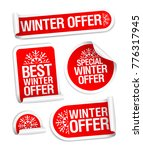 winter offer stickers vector set | Shutterstock .eps vector #776317945