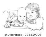 sketch of 5 year old girl... | Shutterstock .eps vector #776319709