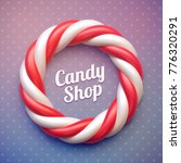 candy cane circle frame on...   Shutterstock .eps vector #776320291