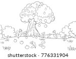 Coloring Book Page An Apple...