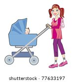 Young happy mother with a baby in a pram on white background - stock photo