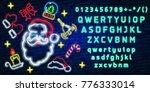 set christmas neon sign. neon... | Shutterstock .eps vector #776333014