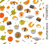 vector seamless sushi pattern.... | Shutterstock .eps vector #776338921