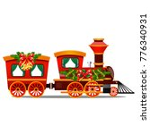 little red train with wagons... | Shutterstock .eps vector #776340931