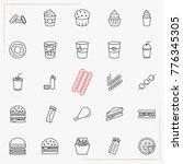 fast food line icons set | Shutterstock .eps vector #776345305