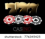 casino chips and slot machine... | Shutterstock . vector #776345425