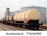 oil train and oil refinery - stock photo