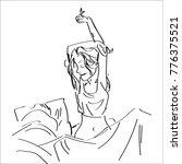 line art sketch of a girl just... | Shutterstock .eps vector #776375521