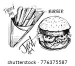 french fries and burger. hand... | Shutterstock .eps vector #776375587