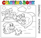 coloring book with dolphins 2   ... | Shutterstock .eps vector #77638402