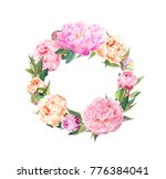 floral wreath with pink peony...   Shutterstock . vector #776384041