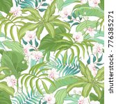 seamless tropical pattern with... | Shutterstock .eps vector #776385271