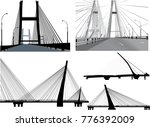 five modern bridges collection | Shutterstock .eps vector #776392009