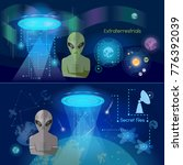 ufo banner  aliens in space... | Shutterstock .eps vector #776392039