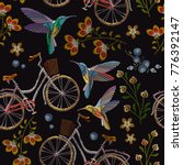 embroidery bicycle  flowers and ... | Shutterstock .eps vector #776392147