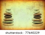 grunge background with stacks from pebbles - stock photo