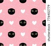 cut head black cat with heart... | Shutterstock .eps vector #776402779
