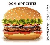 hamburger in the style of pixel ...   Shutterstock .eps vector #776407795