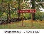 Surrender Field Sign at the Yorktown Battlefield in Yorktown, Virginia