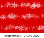 white snowflakes falling on red ...   Shutterstock .eps vector #776412829