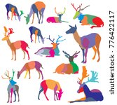 set of vector colorful mosaic... | Shutterstock .eps vector #776422117