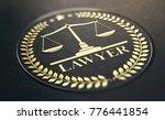 lawyer symbol  golden stamp... | Shutterstock . vector #776441854