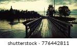 pedestrian timber bridge on the ... | Shutterstock . vector #776442811