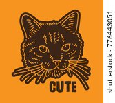 cute cat head hand drawing...   Shutterstock .eps vector #776443051