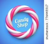 candy cane circle frame on blue ... | Shutterstock .eps vector #776445517