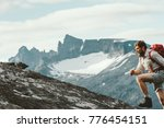active man running in mountains ... | Shutterstock . vector #776454151
