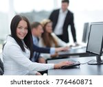 business woman on the... | Shutterstock . vector #776460871