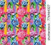 wildflower pink peony flower... | Shutterstock . vector #776464327