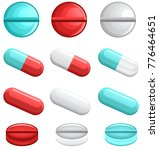 set of colorful vector pills... | Shutterstock .eps vector #776464651