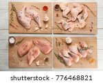 wooden boards with raw chicken... | Shutterstock . vector #776468821