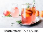 peach and rosemary lemonade ... | Shutterstock . vector #776472601