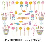 lollipop set vector hand drawn... | Shutterstock .eps vector #776475829