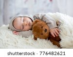 sweet baby boy in bear overall  ... | Shutterstock . vector #776482621