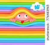 pink funny emoji monster... | Shutterstock .eps vector #776483965