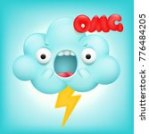 angry cloud cartoon kawaii... | Shutterstock .eps vector #776484205
