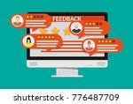 desktop pc with rating app.... | Shutterstock .eps vector #776487709
