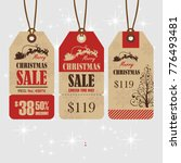 christmas sale paper tags red... | Shutterstock .eps vector #776493481