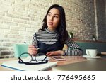 beautiful young business woman... | Shutterstock . vector #776495665