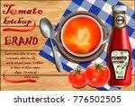 tomato ketchup ad. bottle of... | Shutterstock .eps vector #776502505