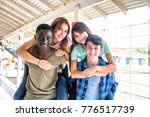 two couples of mixed races... | Shutterstock . vector #776517739