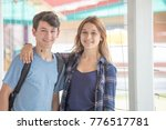 couple of teenagers embracing... | Shutterstock . vector #776517781