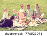smiling parents with four kids... | Shutterstock . vector #776523091