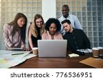 smiling group of diverse work... | Shutterstock . vector #776536951