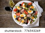french salad nicoise with tuna  ... | Shutterstock . vector #776543269